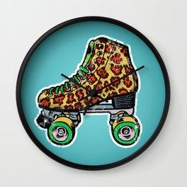 Cyan Leopard print roller skates Wall Clock