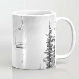 Ski Lift Moon Break // Riding the Mountain at Copper Colorado Luna Sky Peeking Foggy Clouds Coffee Mug