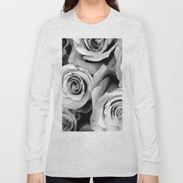 Black and White Roses Long Sleeve T-shirt