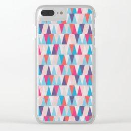 Blue & Pink Geometric Triangle Pattern Clear iPhone Case