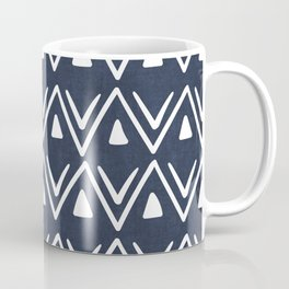 Etched Zig Zag Pattern in Navy Blue Coffee Mug