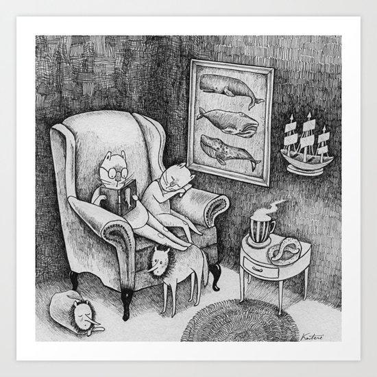 Whale Reader Art Print