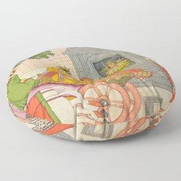 Rukmini Elopes with Krishna Floor Pillow