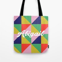 abigail larson Tote Bags featuring Abigail Geo Brights by Name Sake Gifts