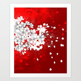 Red skies and white sakuras Art Print