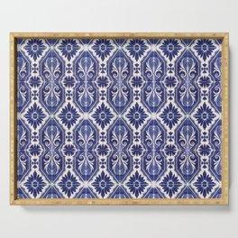 Portuguese Tiles Azulejos Blue White Pattern Serving Tray