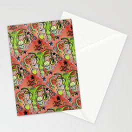 Merry Demon Goat Satanic Patchwork Stationery Cards