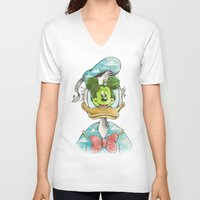 magritte V-neck T-shirts featuring duck magritte by Alan Maia