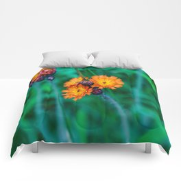 Orange and Red Flowers Comforters