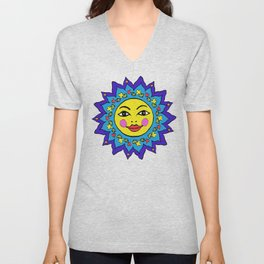 Mayan Sunshine Girl by Amanda Martinson Unisex V-Neck