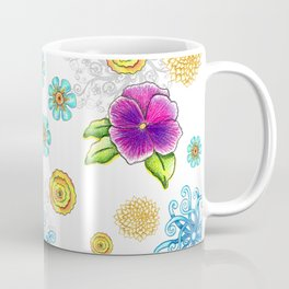 Illustrated Flowers Pattern Coffee Mug