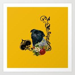 The Romantic Old School Pug Art Print