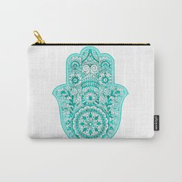 Turquoise Watercolor Hamsa Hand Carry-All Pouch