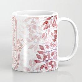 Modern burgundy faux rose gold Hamsa Hand of Fatima floral Coffee Mug
