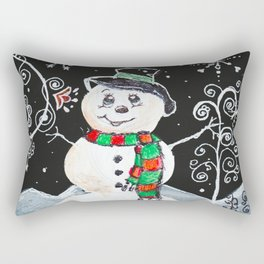 Snowman on Black Rectangular Pillow