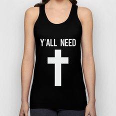 Y'all Need Jesus Black Cross Print Unisex Tank Top