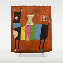 STRIPED LAMA Shower Curtain