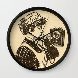 Lady at phone. Wall Clock