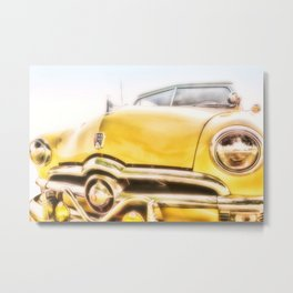 Classic Car Yellow Ford Rag Top - photography Metal Print