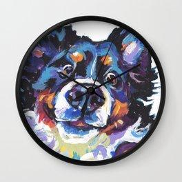 Berner Bernese Mountain Dog Portrait Pop Art painting by Lea Wall Clock