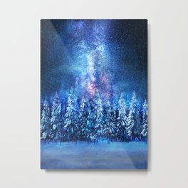 Forest under the Starlight Metal Print
