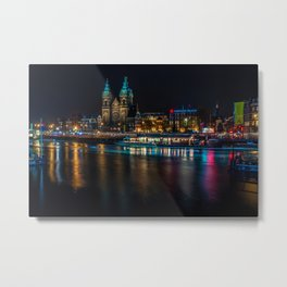 Canal and Neon Lights of Amsterdam Metal Print