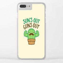 Sun's Out Guns Out Macho Cactus Clear iPhone Case
