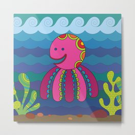 Stylize fantasy color octopus under sea water. Metal Print