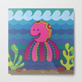 Stylize fantasy color octopus under sea water. Metal Print