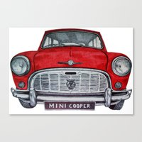 mini cooper Canvas Prints featuring Mini Cooper by Jorge Antunes