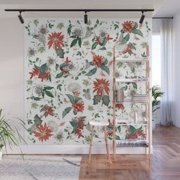 Festive Red Green Botanical Poinsettia Cactus Floral Pattern Wall Mural