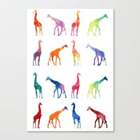 giraffes Canvas Prints featuring Giraffes by emegi