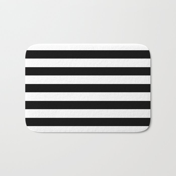 Midnight Black and White Stripes Badematte