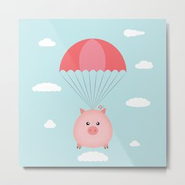 Baby Pig in a Parachute Metal Print