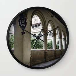 Spanish Cloister with Orange Trees Wall Clock