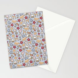 Gingerbread on light blue background Stationery Cards
