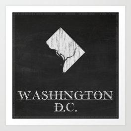 Washington DC State Map Chalk Drawing Art Print