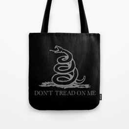 Don't Tread On Me Black Gasden Flag Tote Bag
