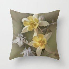 White and yellow columbines Throw Pillow