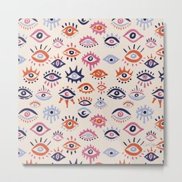 Mystic Eyes – Coral & Navy Metal Print