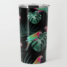 Parrots in the Tropical Jungle Night #1 #tropical #decor #art #society6 Travel Mug