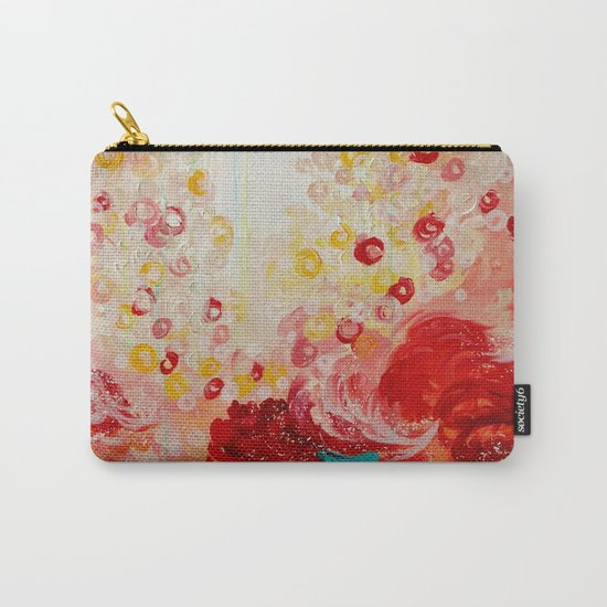 SUMMER DAYS Feminine Pretty Pink Red Peach Abstract Acrylic Painting Whismical Nature Color Splash Carry-All Pouch