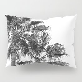 Big Sur Palms | Black and White Palm Trees California Summer Sky Beach Surfing Botanical Photography Pillow Sham