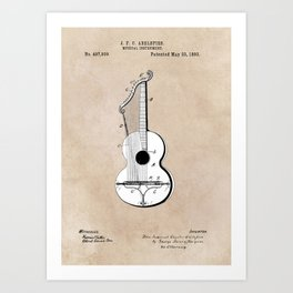 patent art Abelspies 1893 Musical Instrument Art Print