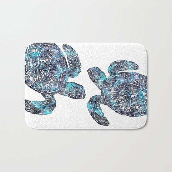 Sea Turtle Blue Watercolor Art Bath Mat