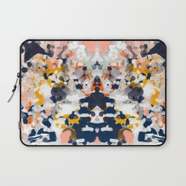 Stella - Abstract painting in modern fresh colors navy, orange, pink, cream, white, and gold Laptop Sleeve