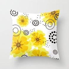 PEPPER POPPIES | yellow Throw Pillow
