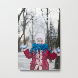 Girl Throwing Snow in Winter Metal Print