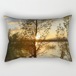 """Sun through the trees"". Spring sunset. Rectangular Pillow"