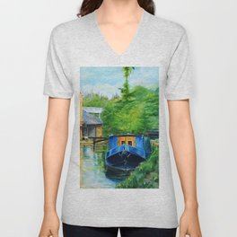 A narrow boat stops after passing through Coxes Lock near Addlestone in Surrey.  Unisex V-Neck